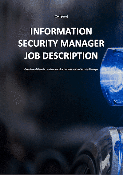 Information Security Manager Job Description | ISO 27001 Documents templates