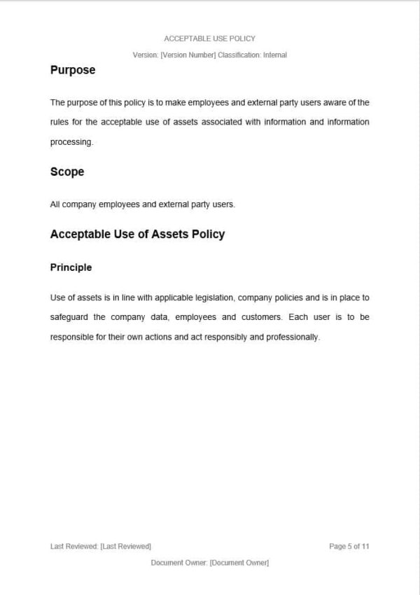 Acceptable Use Policy Template for ISO 27001. An ISO 27001 template.