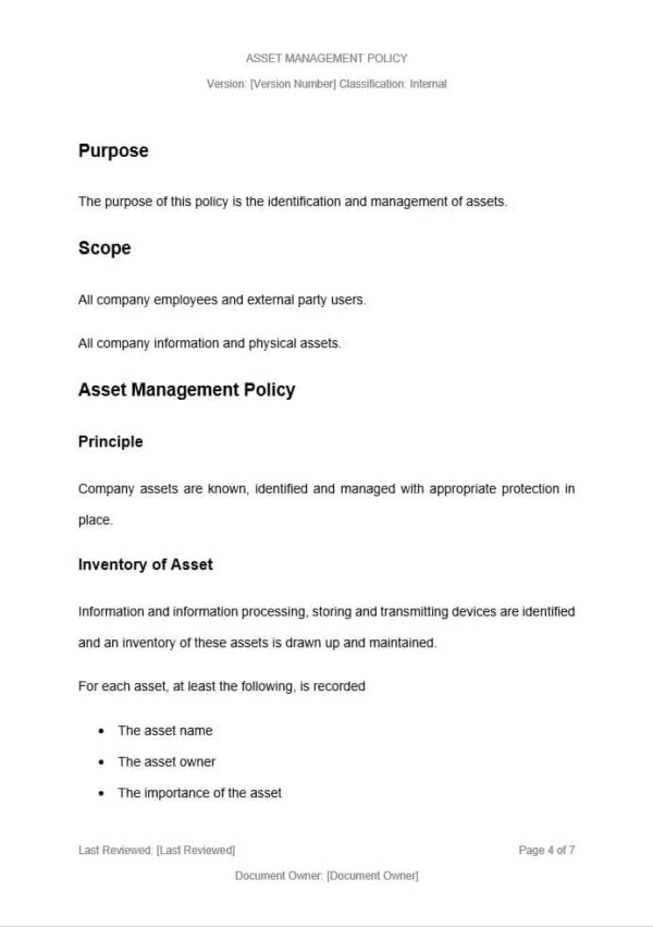 Asset Management Policy Template for ISO 27001. An ISO 27001 template.