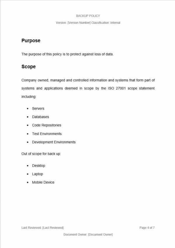 Backup Policy Malware and Anti Virus Policy Template for ISO 27001. An ISO 27001 template.
