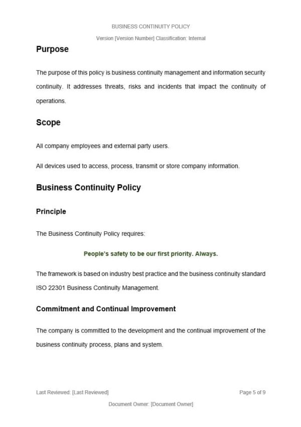 Business Continuity Policy Template for ISO 27001. An ISO 27001 template.