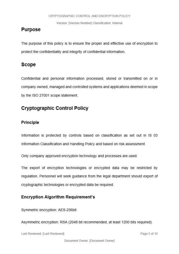 Cryptographic Control and Encryption Policy template for ISO 27001. An ISO 27001 template.