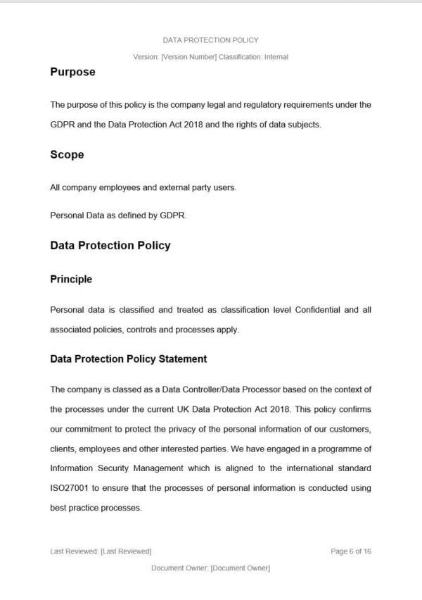 Data Protection Policy Template for ISO 27001. An ISO 27001 template.