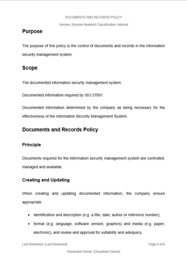Documents and Records Policy template for ISO 27001. An ISO 27001 template.