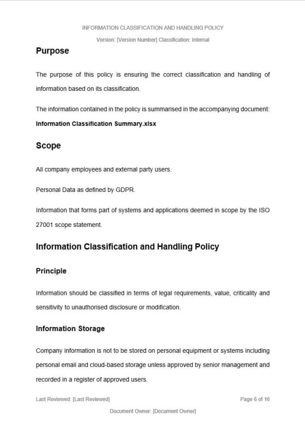 Information Classification and Handling Policy Template for ISO 27001. An ISO 27001 template.