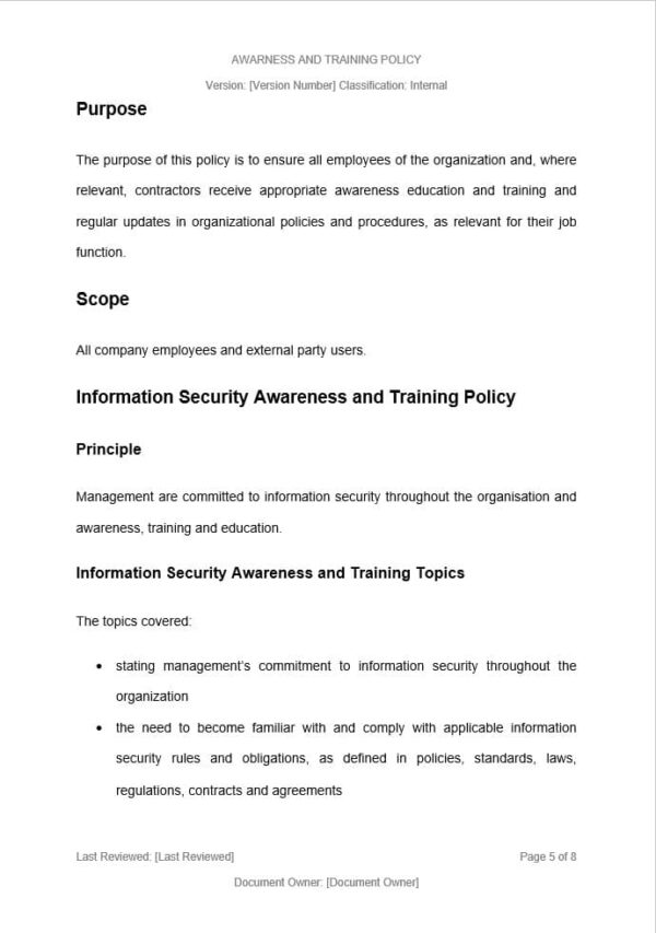 Information Security Awareness and Training Policy Template for ISO 27001. An ISO 27001 template.