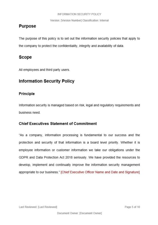 Information Security Policy Template for ISO 27001. An ISO 27001 template.