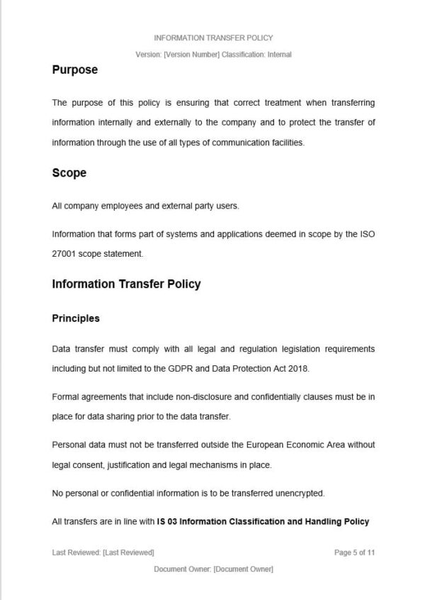 Information Transfer Policy template for ISO 27001. An ISO 27001 template.
