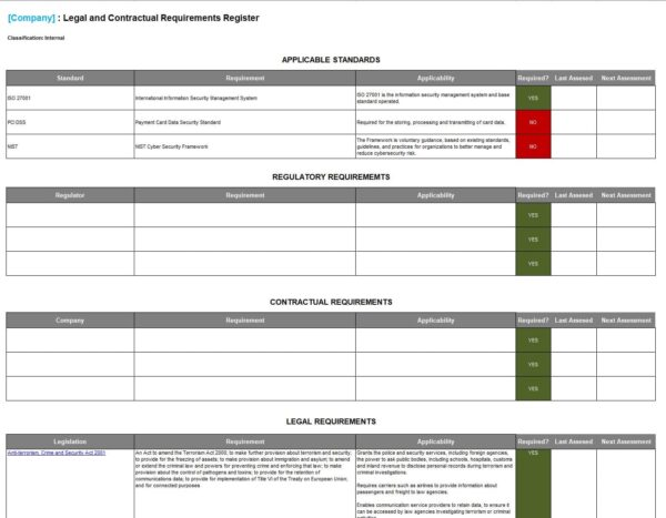 Legal and Contractual Requirements Register Snapshot template for ISO 27001. An ISO 27001 template.