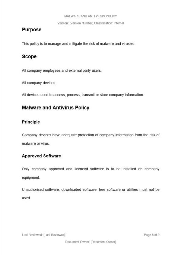 Malware and Anti Virus Policy Template for ISO 27001. An ISO 27001 template.