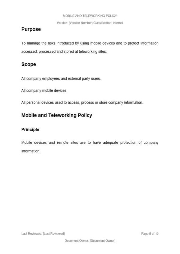 Mobile and Remote Working Policy Template for ISO 27001. An ISO 27001 template.