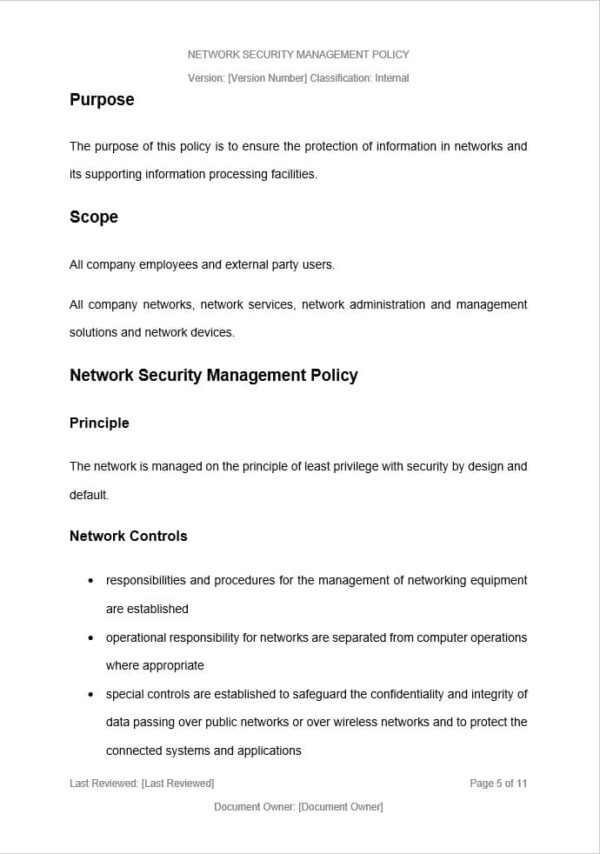 Network Security Management Policy template for ISO 27001. An ISO 27001 template.