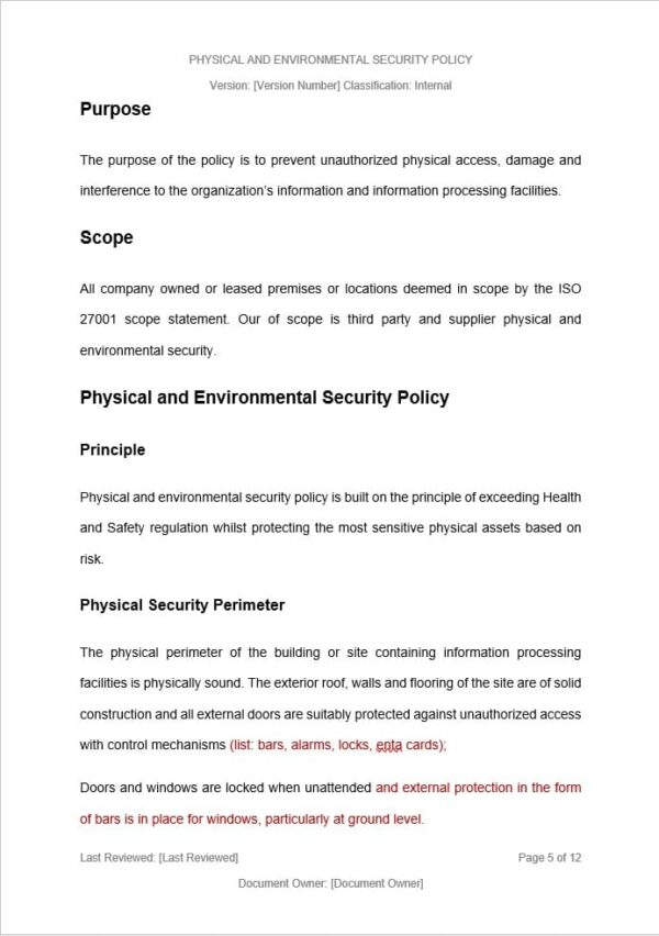 Physical and Environmental Security Policy template for ISO 27001. An ISO 27001 template.