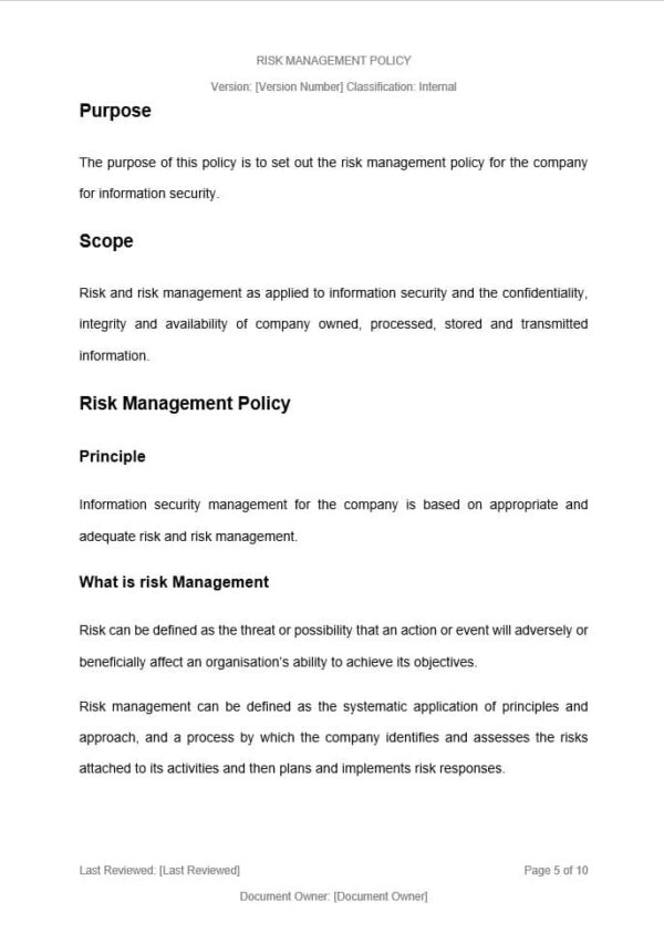 Risk Management Policy Template for ISO 27001. An ISO 27001 template.