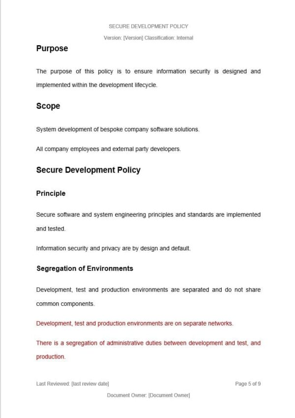 Secure Development Policy template for ISO 27001. An ISO 27001 template.