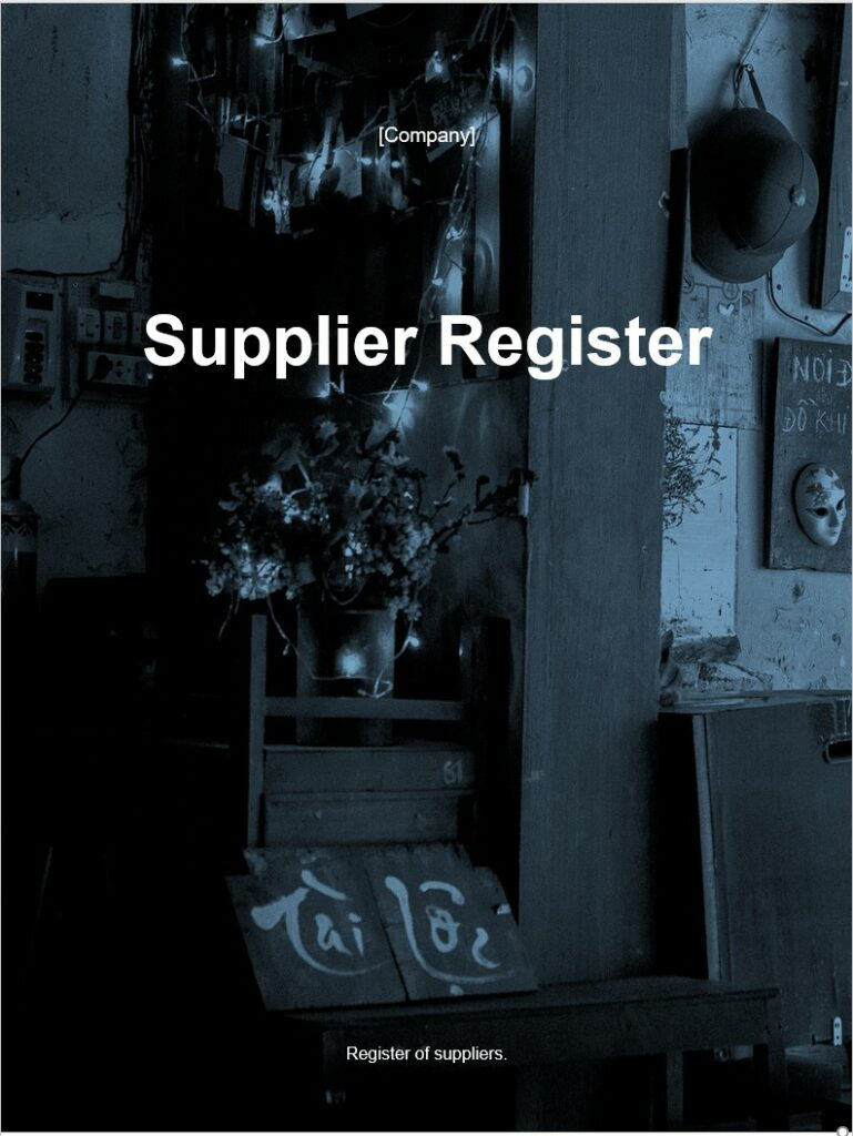Supplier Register | ISO 27001 Documents templates