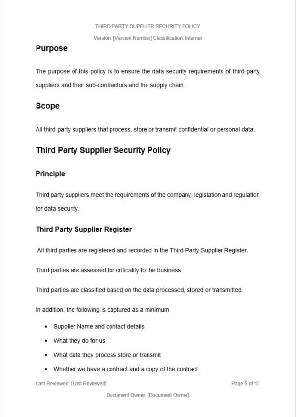 Third Party Supplier Policy Template for ISO 27001. An ISO 27001 template.