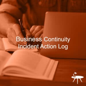 Business Continuity Incident Action Log Cover for ISO 27001